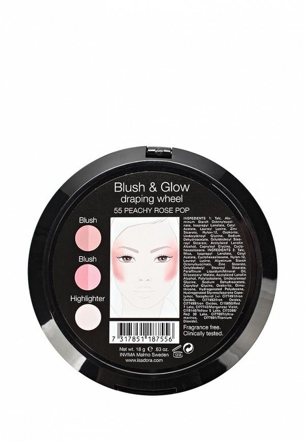 Палетка для макияжа Isadora румян и хайлайтеров BLUSH  GLOW draping wheel 55, 18 гр