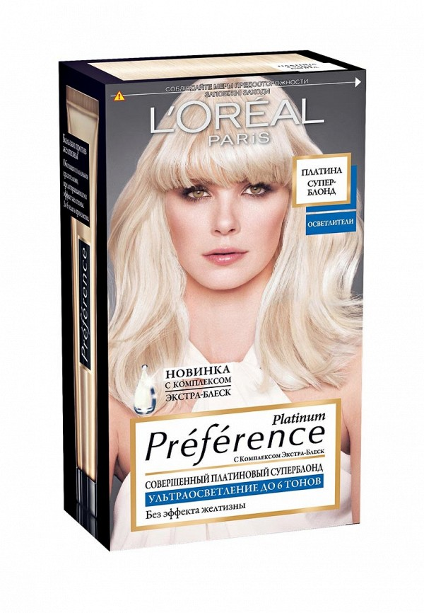 Краска LOreal Paris для волос Preference, Платина Суперблонд 6 тонов осветления