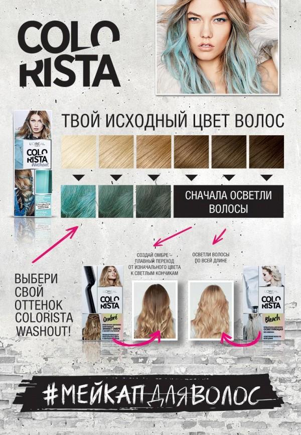 Бальзам для волос LOreal Paris Смываемый красящий Colorista Washout, оттенок Голубые Волосы, 80 мл