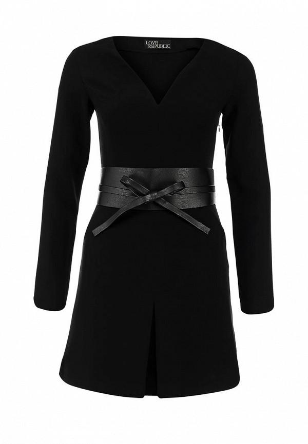 Черное платье с кожаным поясом Love Republic