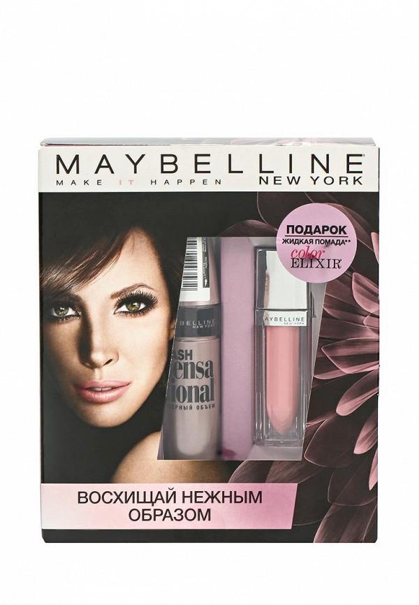 Набор Maybelline New York тушь для ресниц Lash Sensational, Жидкая помада для губ Color Elixir оттенок 105, Плюшевый Лепесток, 5 мл