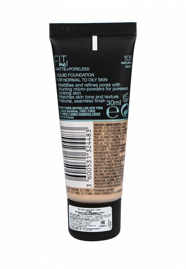 Тональный крем Maybelline New York Fit Me, Матовая кожа + невидимые поры, Оттенок 105, Светло-Бежевый, 30 мл