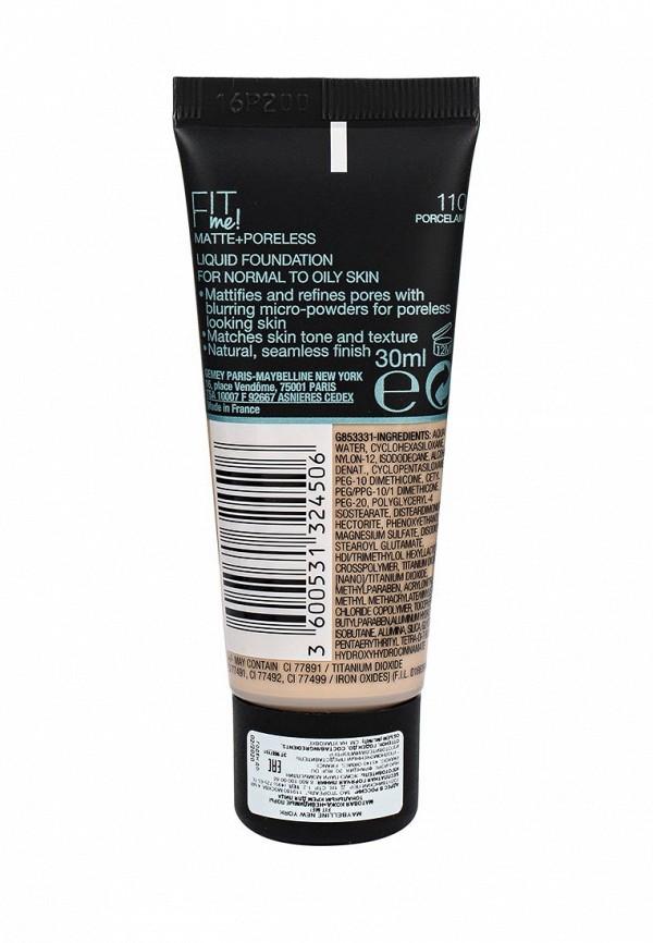 Тональный крем Maybelline New York Fit Me, Матовая кожа + невидимые поры, Оттенок 110, Слоновая Кость, 30 мл