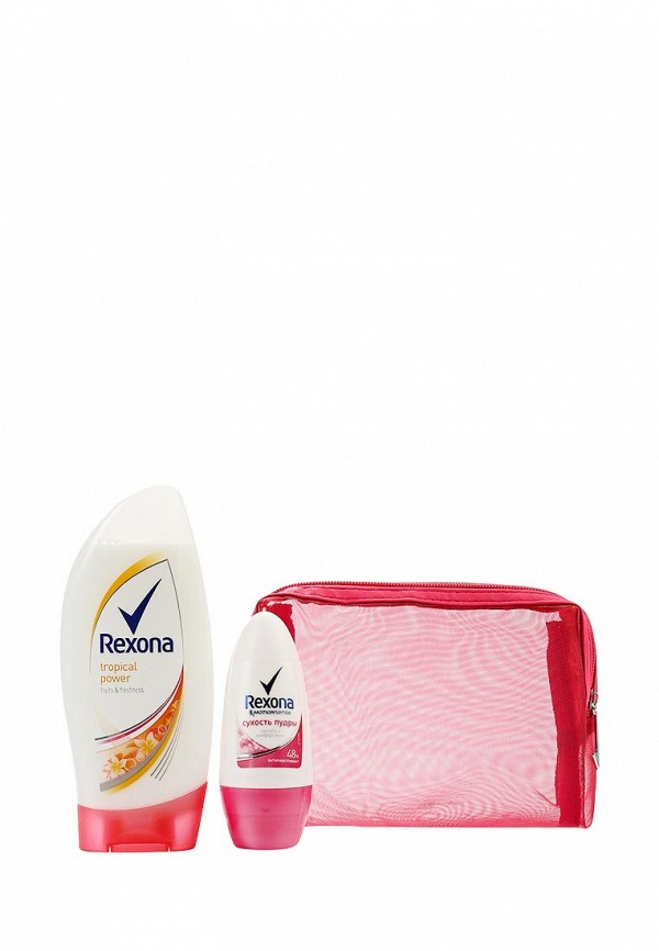 Набор Rexona Be Sexy дезодорант Сухость пудры 50 мл,  гель для душа Тропический заряд 250 мл, косметичка