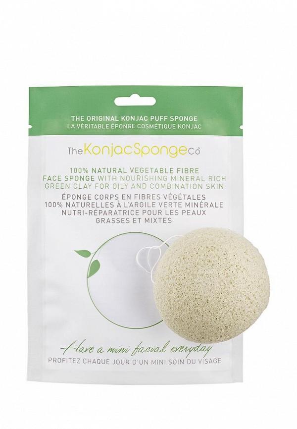 Спонж The Konjac Sponge Co для умывания лица Facial Puff Konjac Sponge Green Clay