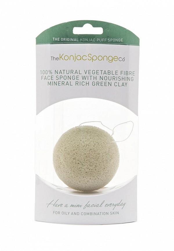 Спонж The Konjac Sponge Co для умывания лица Premium Facial Puff with French Green Clay (премиум-упаковка)
