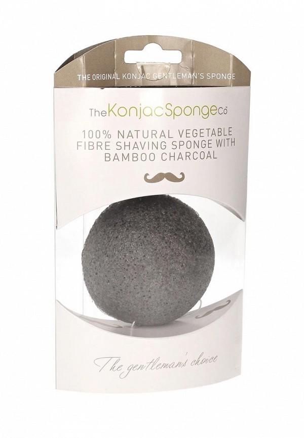 Спонж The Konjac Sponge Co для умывания лица мужской Premium Gentlemens Sponge with Bamboo Charcoal (премиум-упаковка)