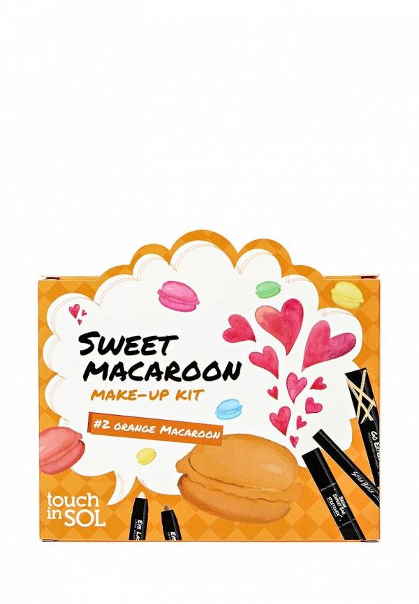 Набор Touch in Sol для макияжа Sweet Macaroon (тушь,тушь д/бровей,подводка,тени для век,лак для губ) №2 Оrange Macaroon