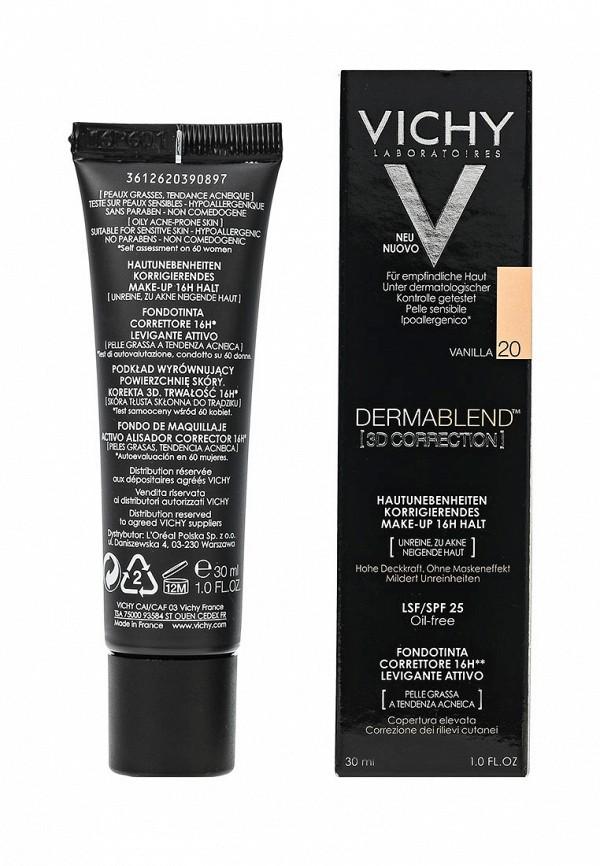 Тональная основа Vichy Dermablend корректирующee 3d с высоким покрытием для жирной кожи, склонной к появлению акне, тон 20, 30 мл