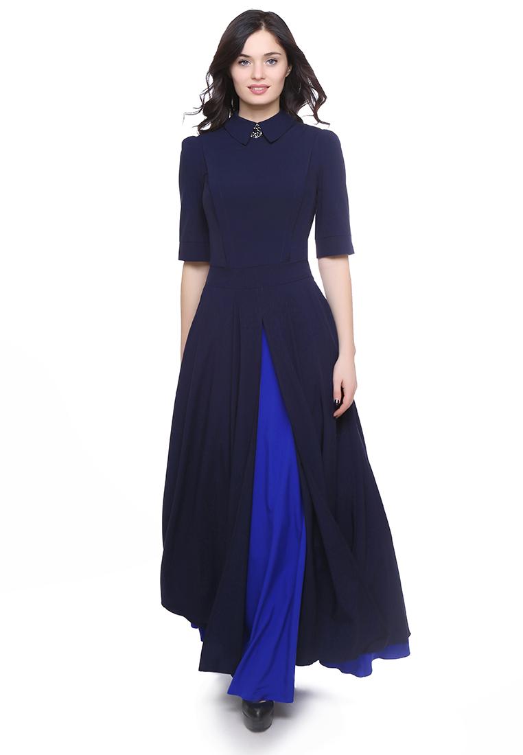 Вечернее / коктейльное платье Grey Cat (Грей Кэт) GPl00091V(yarmina) синий 42